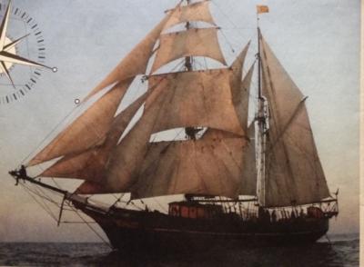 zweimastriges Segelschiff