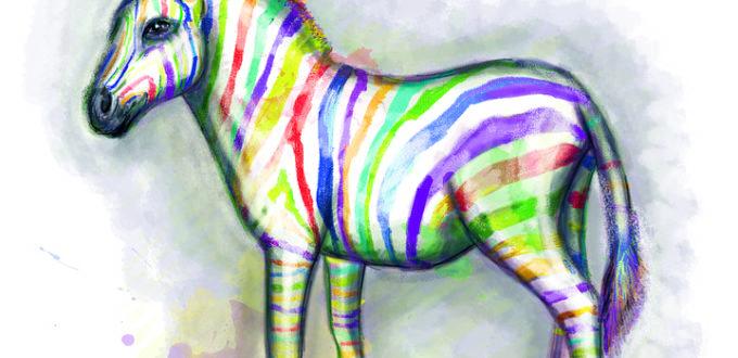 ein bunt-gestreiftes Zebra