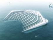 aus der Vogelperspektive sieht man im Meer ein Netz-und Röhrensystem, welches die Form eines Rechens hat, und dem Rausfischen von Plastik aus dem Meer dienen soll in der Zukunft.