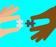 zwei gezeichnete Hände halten zwei passende Puzzle-Teile