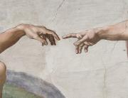 Teil eines Michelangelo-Gemäldes, zwei Unterarme, die sich gegenüber sind und die Hände, die sich mit den Zeigefingerspitzen fast berühren