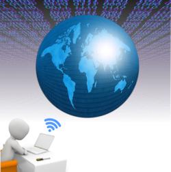 graphische Darstellung, mittig eine Weltkugel und links unten ein gezeichneter Schreibtisch mit Laptop