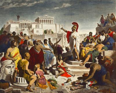 ein altes Gemälde, wo Perikles zu den Füßen der Akropolis zu den Bürgern über demokratische Werte spricht