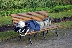 ein Mann liegt auf einer Parkbank, dahinter grüner Rasen und Büsche