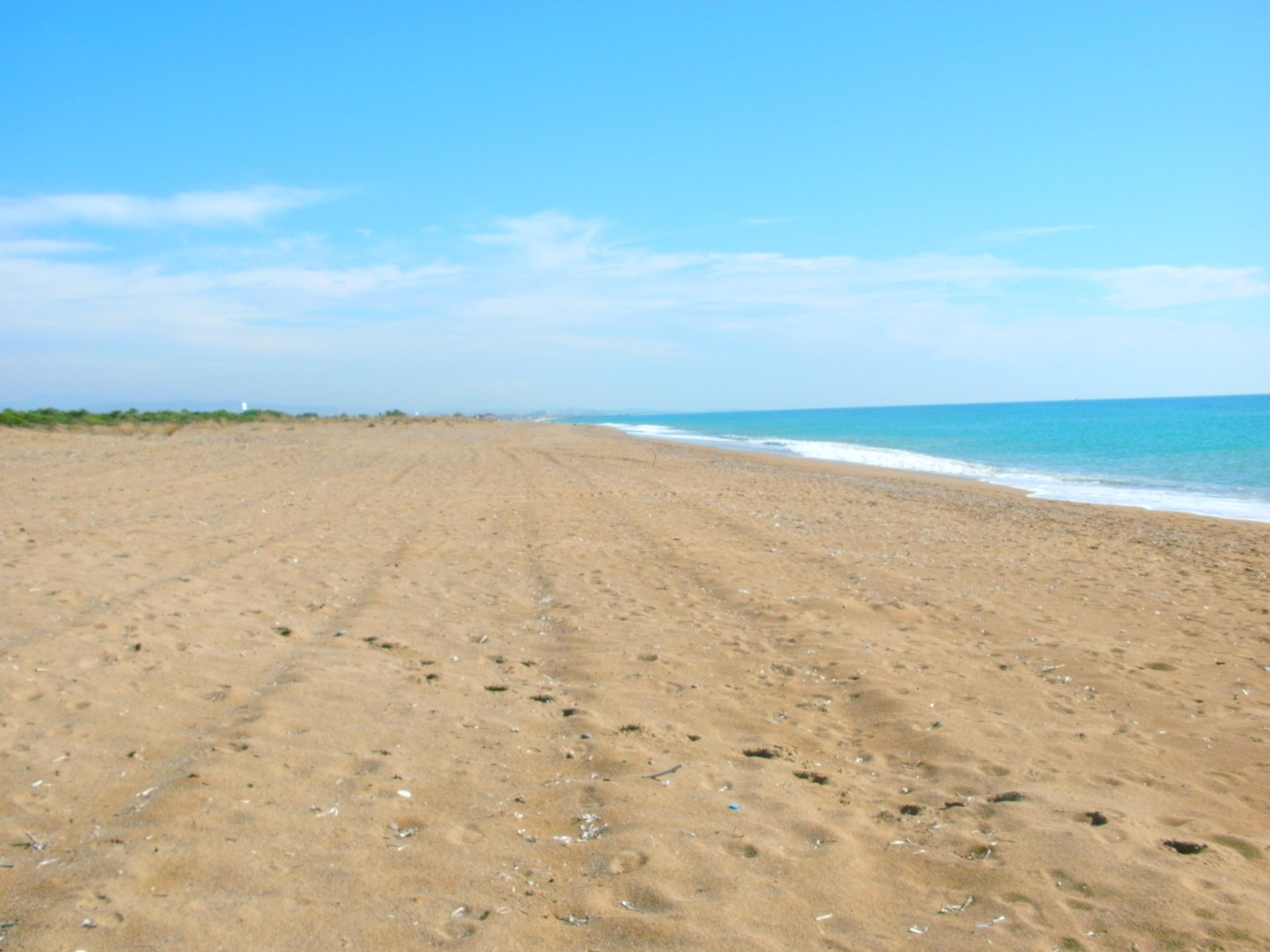 weiter Sandstrand mit viel Himmel und ruhigem Meer