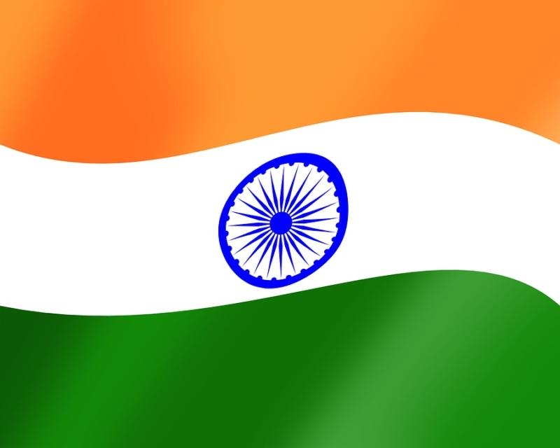 die Flagge von Indien, safran orange-weiss-grün, mit einem Ornament in mittelblau in der Mitte, im weissen Teil, ein 24 speichiges Rad als Symbol eines Chakras