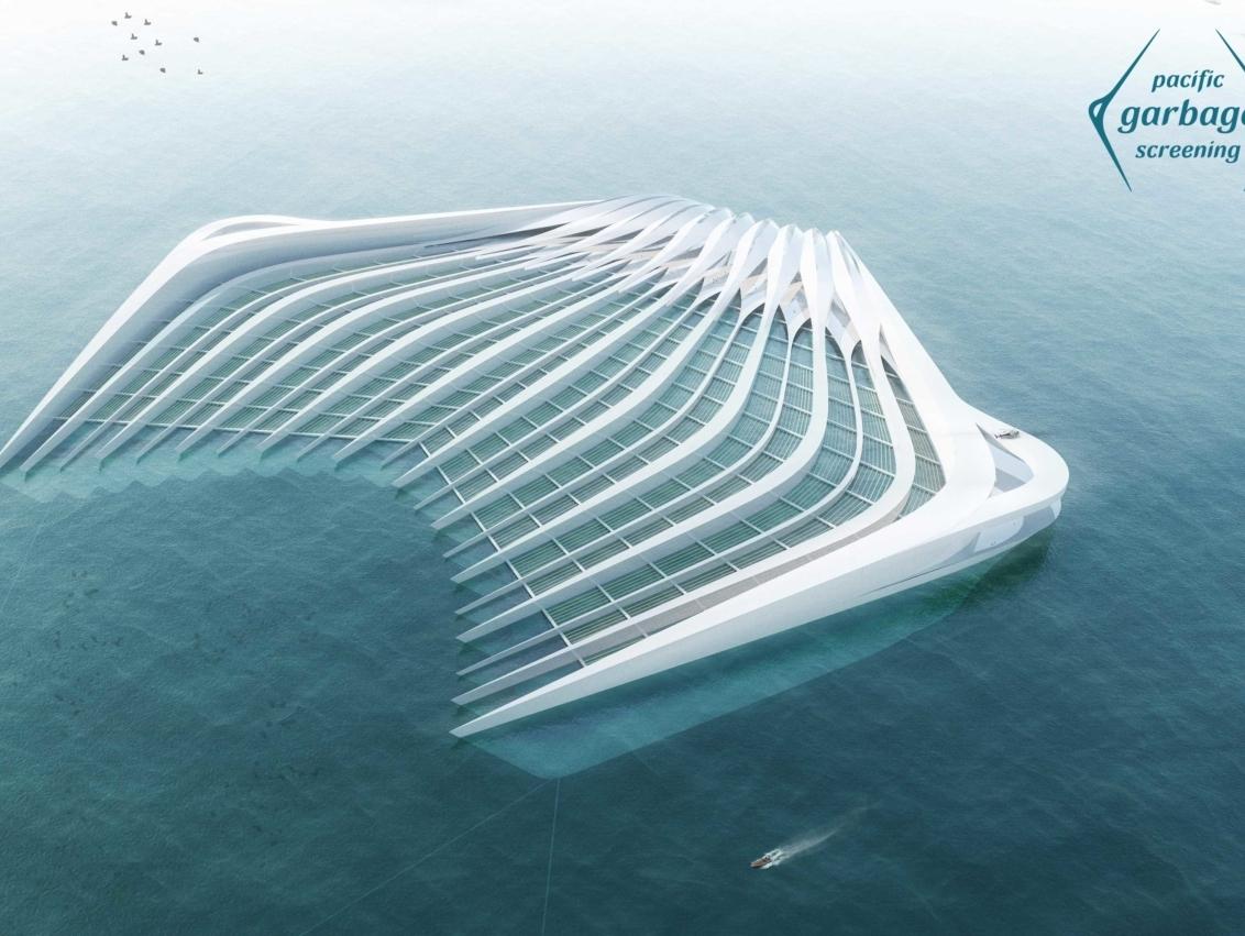 moderne Konstruktion wie eine riesige Gabel, zum Plastik Rausfischen aus dem Meer