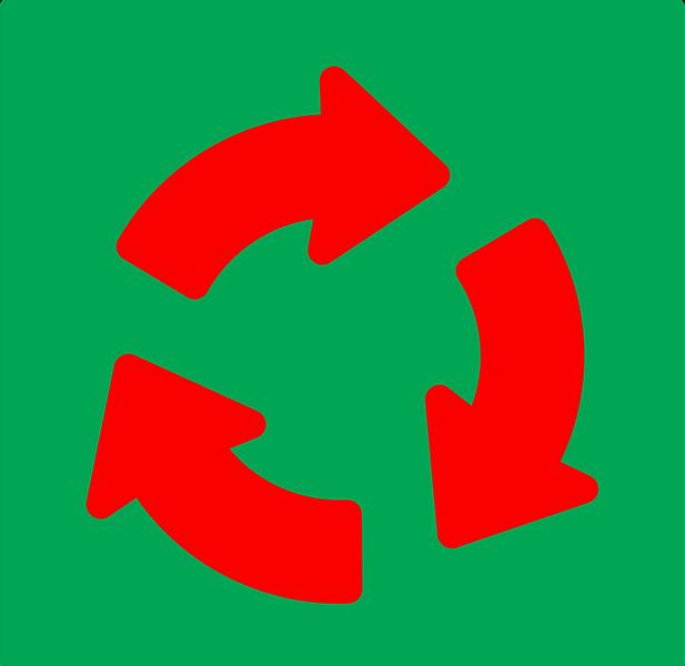 drei rote Pfeile im Kreis auf grünem Grund