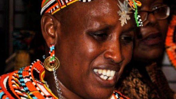 traditionell geschmückte Rebecca Lolosoli, die kenianische Frau