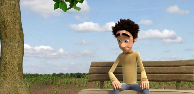 ein computeranimierter junger Mann sitzt auf einer Bank und schaut fasziniert auf den am Boden liegenden Apfel, Apfelbaum steht neben Bank