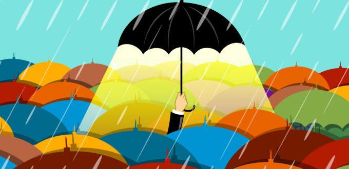 es regnet, ein Schirm hebt sich von allen übrigen Regenschirmen ab und leuchtet, gezeichnetes Bild