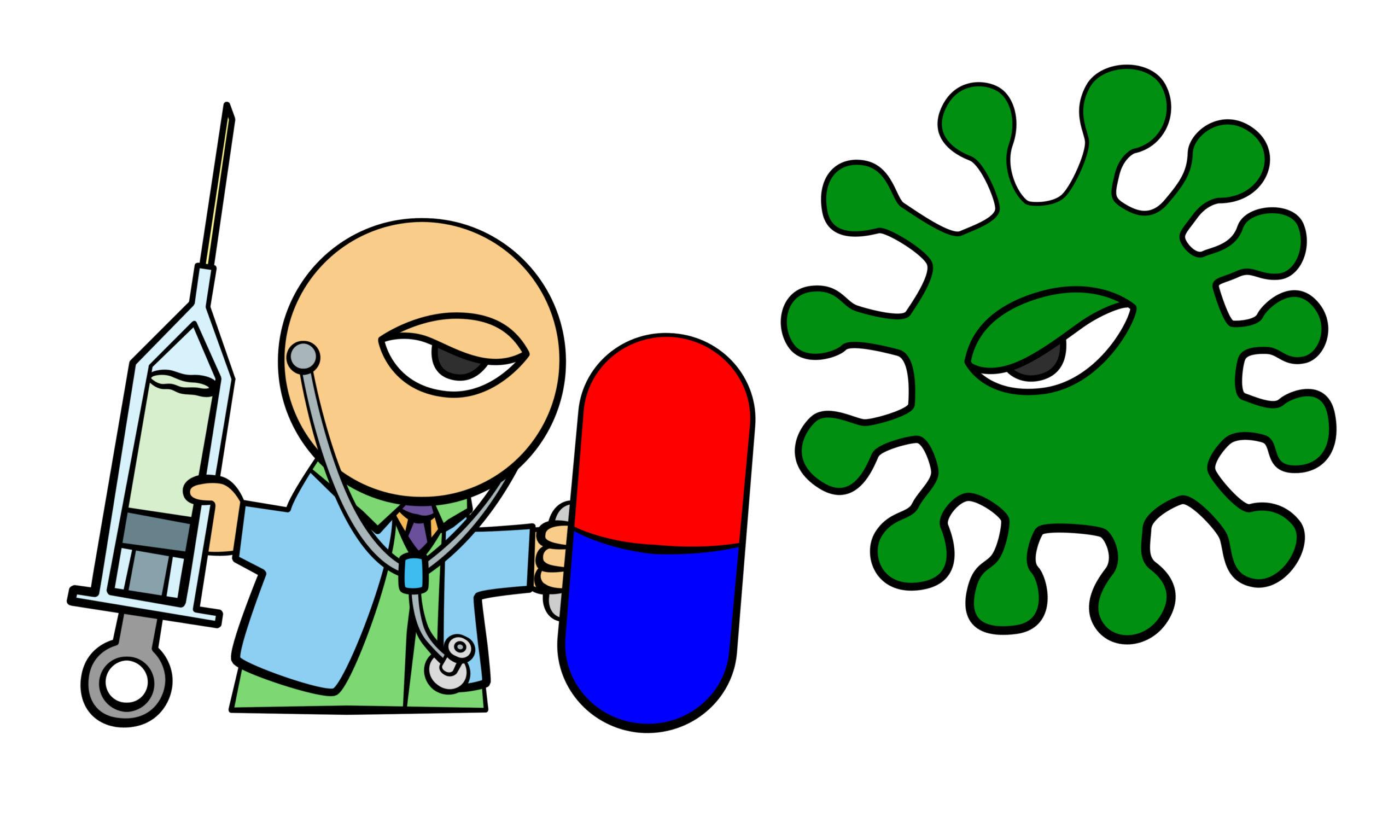 ein Cartoon, rechts ein grüner Virus, links ein Manderl mit Spritze und Medikament, übergross