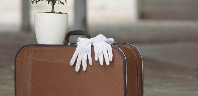 ein kleiner Koffer steht in einem Hausfloor, auf dem weisse Handschuhe liegen und ein kleines grünes Zierbäumchen steht