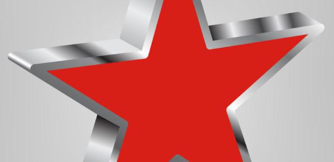 ein roter fünfzackiger Stern auf metallikgrauem Untergrund