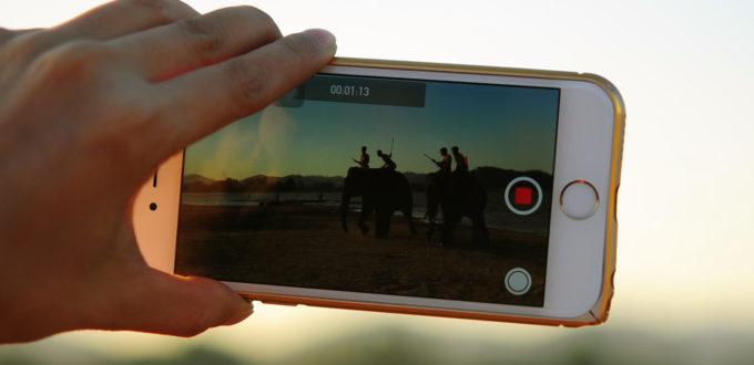 ein Smartphone in Großaufnahme