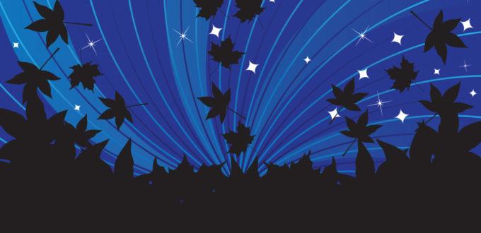 eine Graphik, untere Hälfte des Bildes ist schwarz, obere Hälfte zeigt einen dunkelblauen Nachthimmel, wo schwarze Blätter von unten hinaufgezogen werden