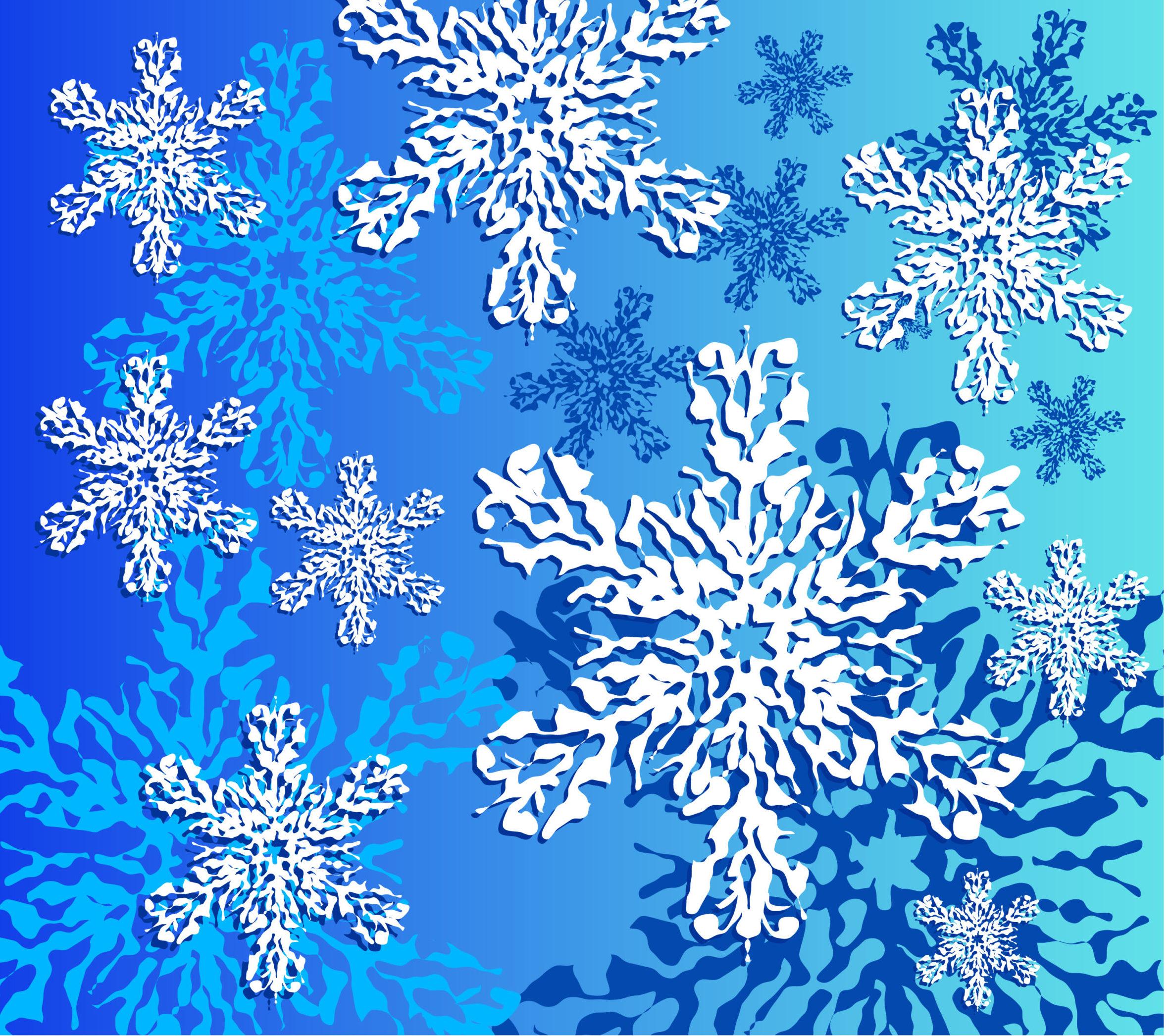 gezeichnete Schneekristalle auf blauem Hintergrund
