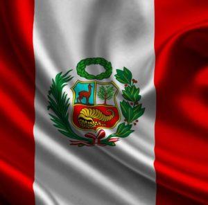 die Flagge von Peru ist rot-weiss-rot im Querformat