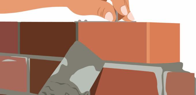 in Zeichentrick sieht man in groß zwei Hände, die eine Ziegelwand aufmauern