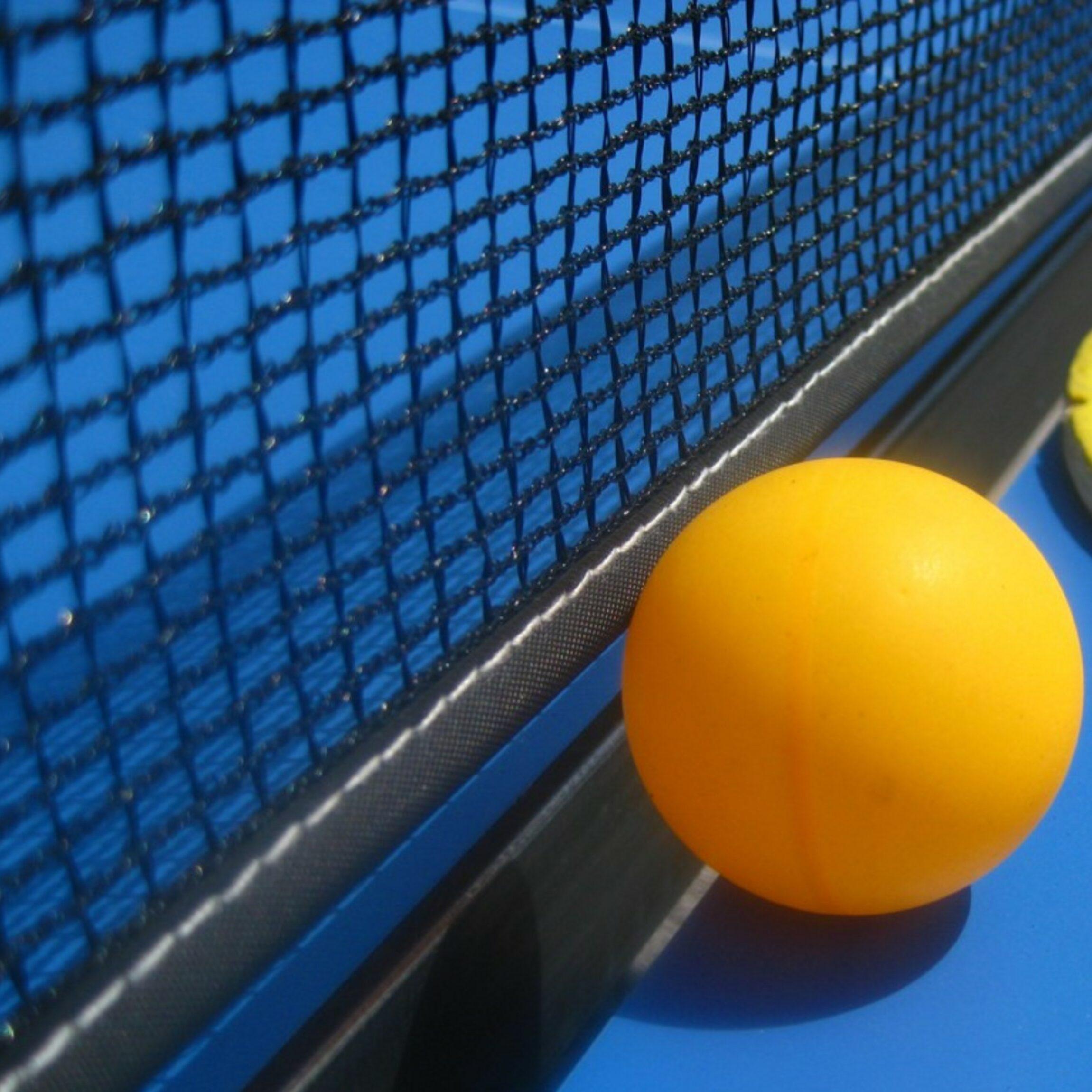 in Großaufnahme sieht man das Tischtennisnetz und davor einen Ball, den Schläger erahnt man daneben.