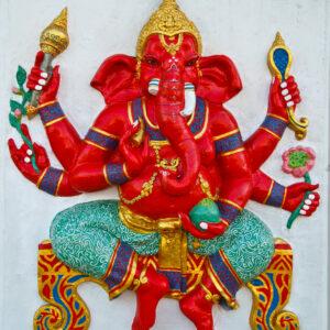 Ganapati, Ganesha ist der hinduistische Gott zur Beseitigung von Hindernissen, bunt gezeichnet, eine menschliche Figur mit Elefantenkopf und vier Händen